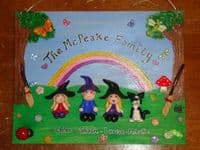 A4 LARGE FAMILY SIGN PLAQUE PEOPLE PETS ANY PHRASING up to 5 Character
